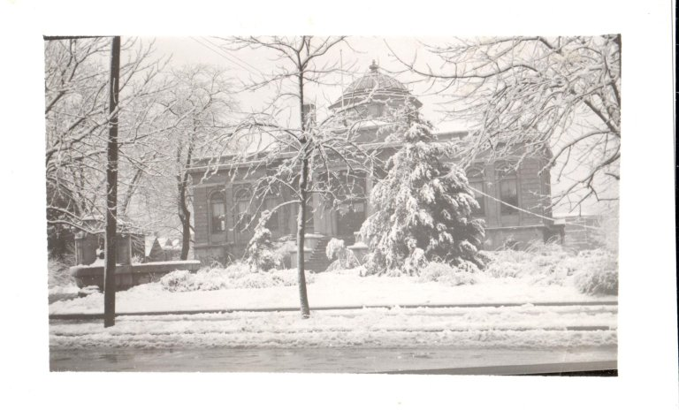 Carnegie Library in Snow