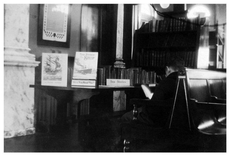 (Untitled) [Inside Carnegie - Ship books, back of reader]